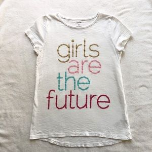 Carter's Girl's Are The Future White Shirt Sz 8